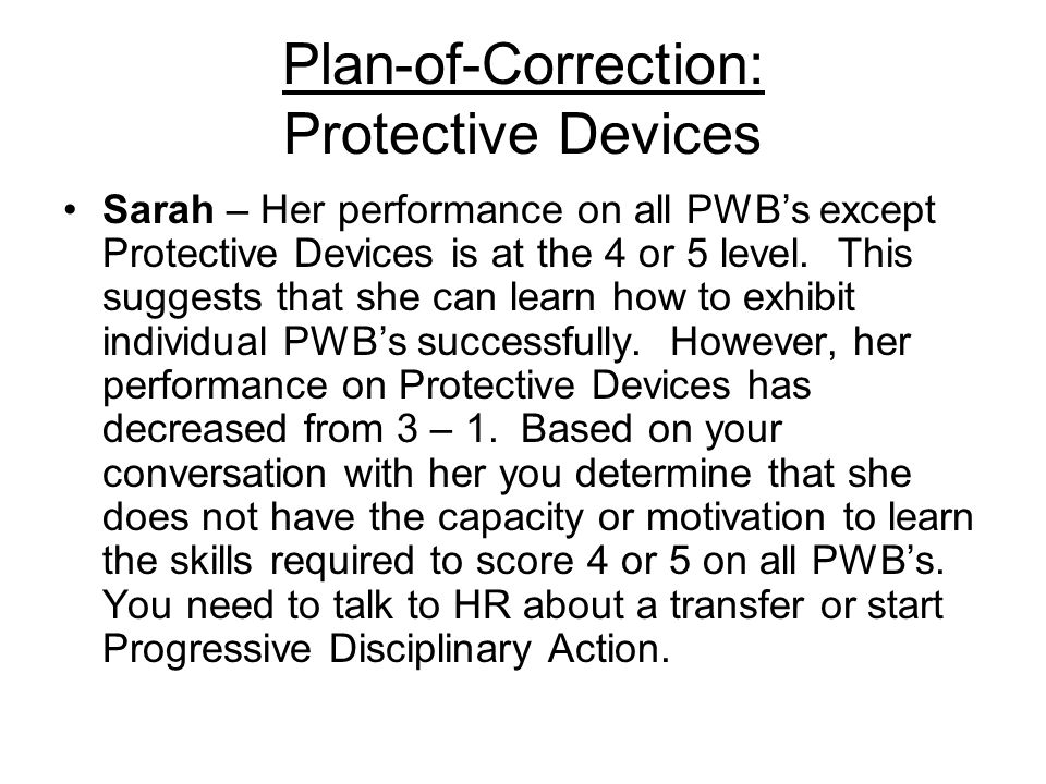 Plan-of-Correction: Protective Devices