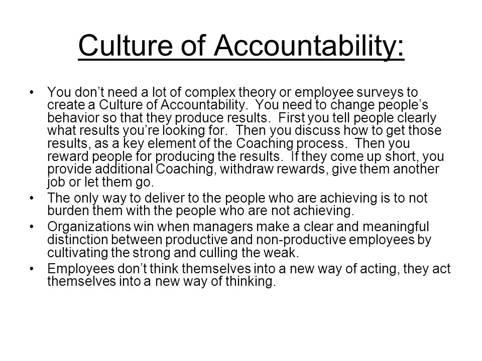 Culture of Accountability: