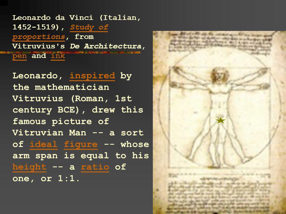 Leonardo da Vinci (Italian, 1452-1519), Study of proportions, from Vitruvius s De Architectura, pen and ink