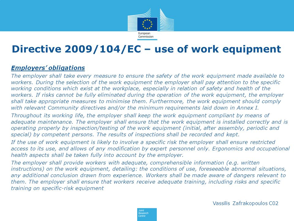 Directive 2009/104/EC – use of work equipment