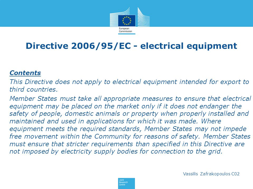 Directive 2006/95/EC - electrical equipment