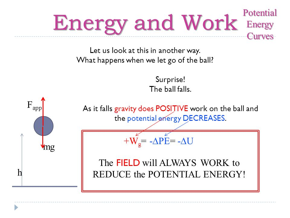 Energy and Work Potential Energy Curves Fapp +Wg= -∆PE= -∆U mg