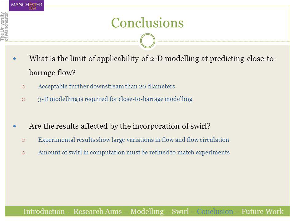 Conclusions What is the limit of applicability of 2-D modelling at predicting close-to-barrage flow