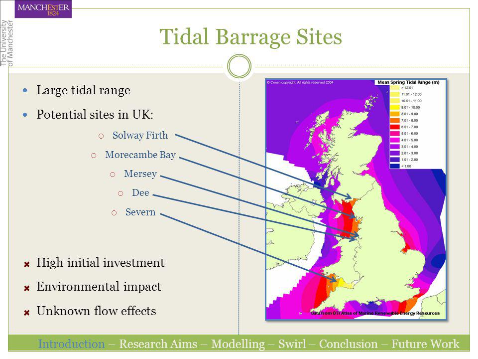 Tidal Barrage Sites Large tidal range Potential sites in UK: