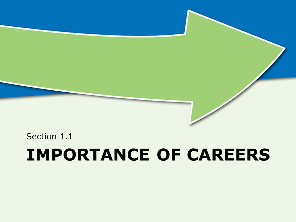 Section 1.1 Importance of Careers