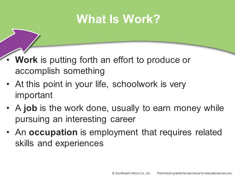 What Is Work Work is putting forth an effort to produce or accomplish something. At this point in your life, schoolwork is very important.