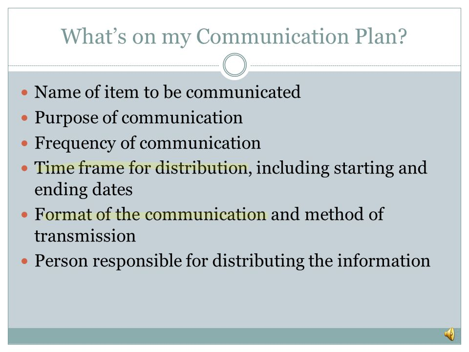 What's on my Communication Plan