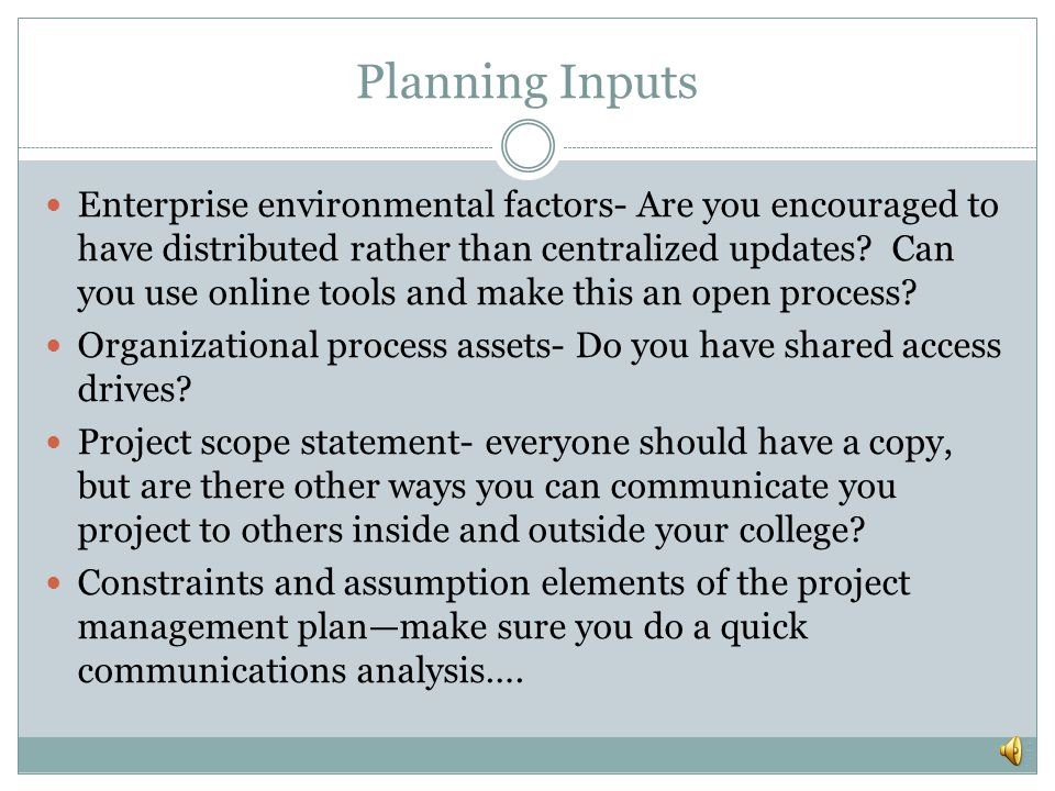 Planning Inputs