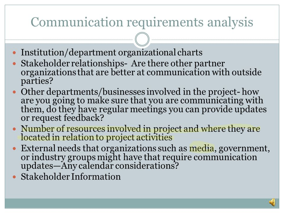 Communication requirements analysis
