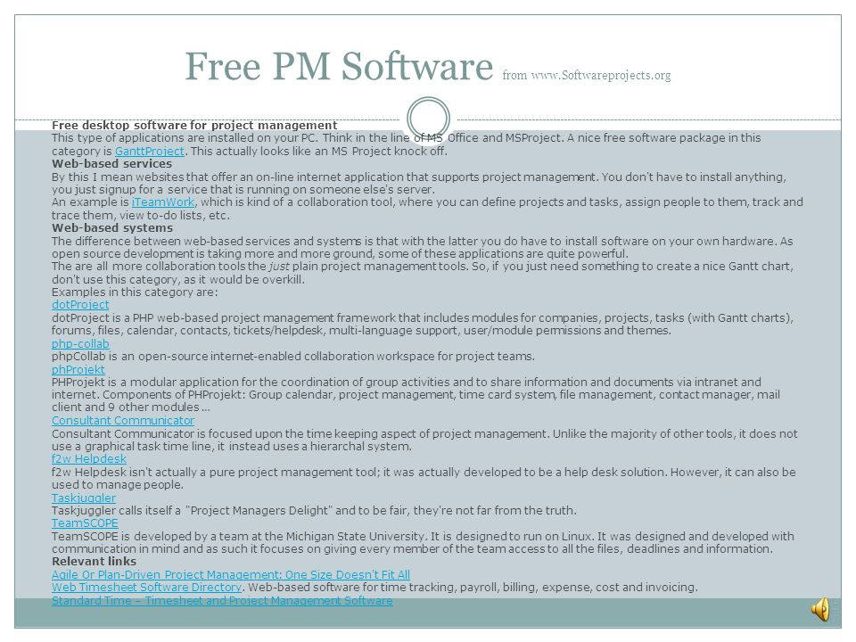 Free PM Software from www.Softwareprojects.org
