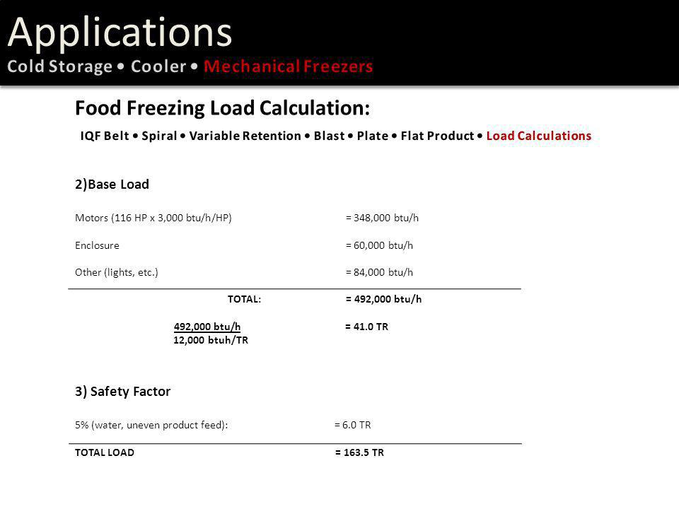 Applications Food Freezing Load Calculation: