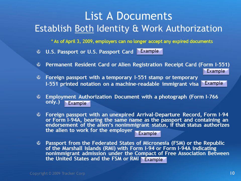 List A Documents Establish Both Identity & Work Authorization