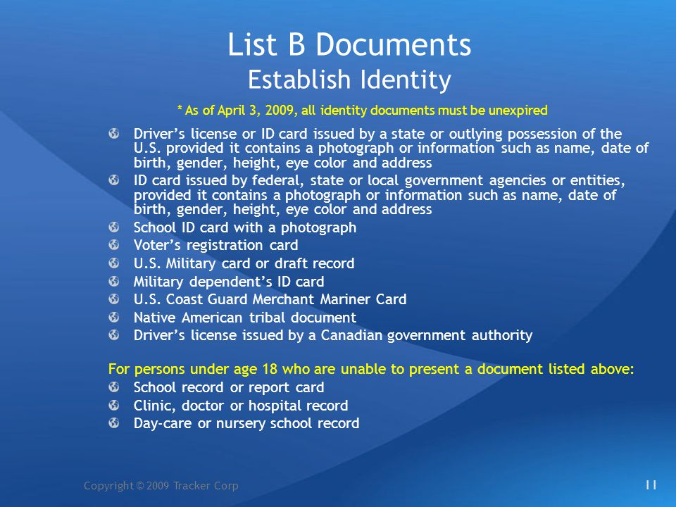 List B Documents Establish Identity