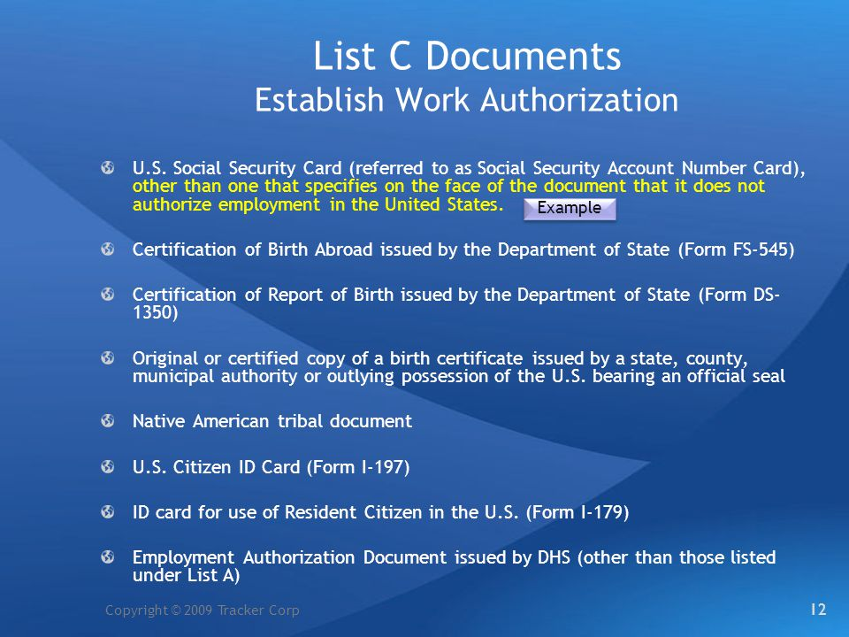 List C Documents Establish Work Authorization