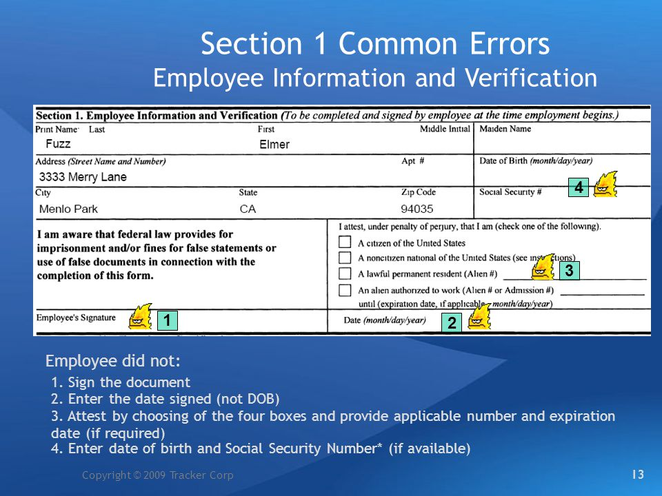 Section 1 Common Errors Employee Information and Verification
