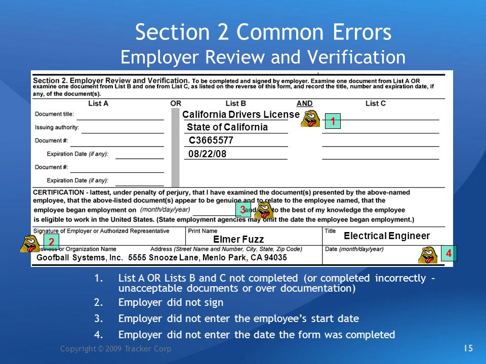 Section 2 Common Errors Employer Review and Verification