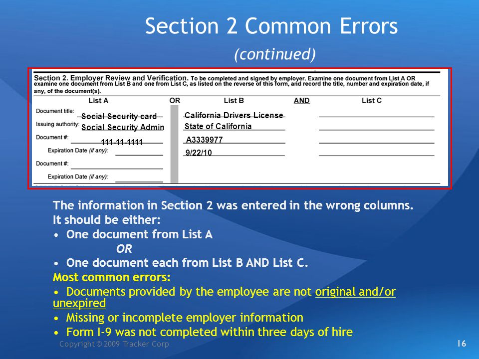 Section 2 Common Errors (continued)