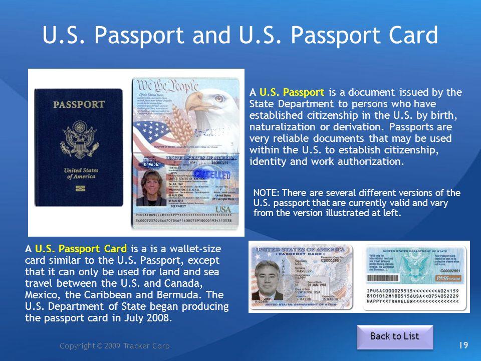 U.S. Passport and U.S. Passport Card