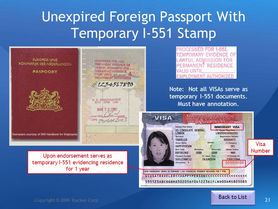 Unexpired Foreign Passport With Temporary I-551 Stamp