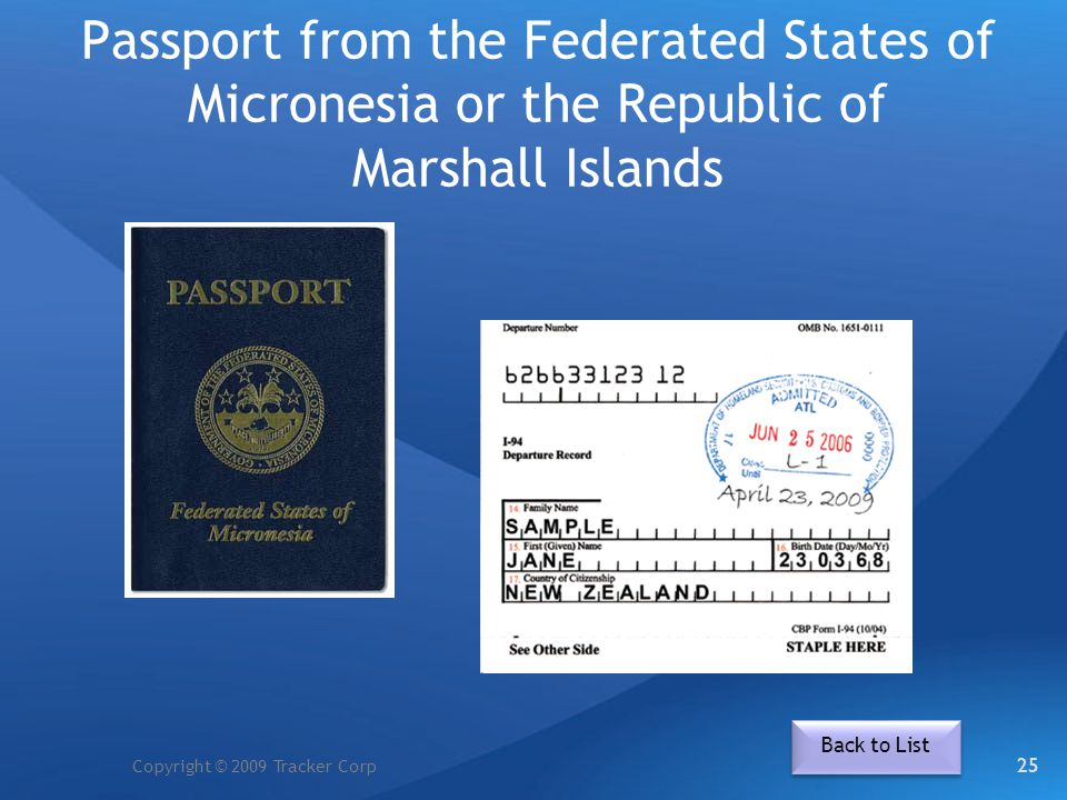 Passport from the Federated States of Micronesia or the Republic of Marshall Islands