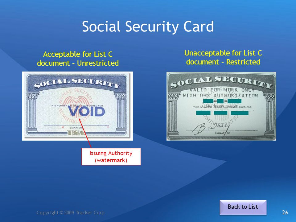 Social Security Card Unacceptable for List C document – Restricted
