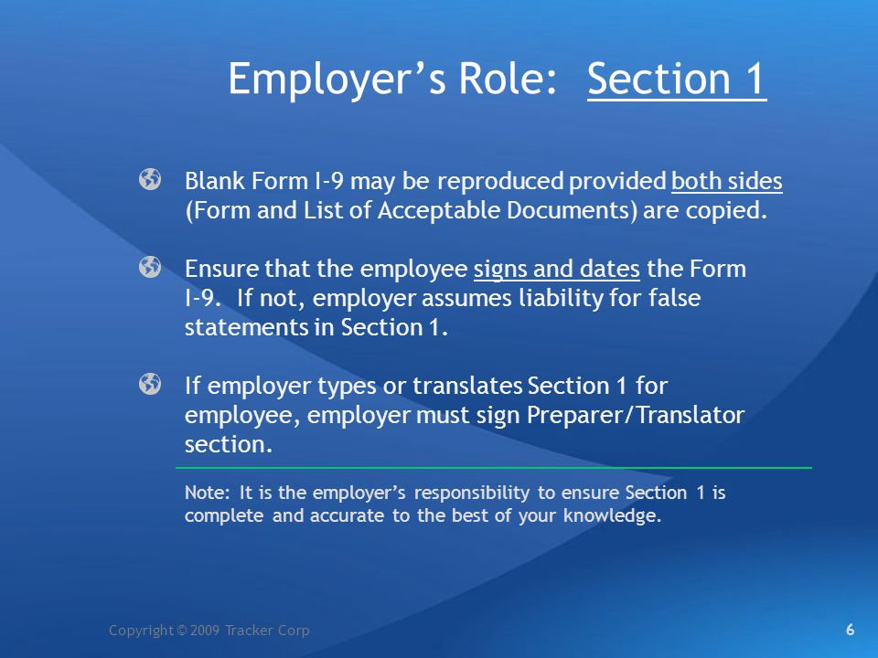Employer's Role: Section 1