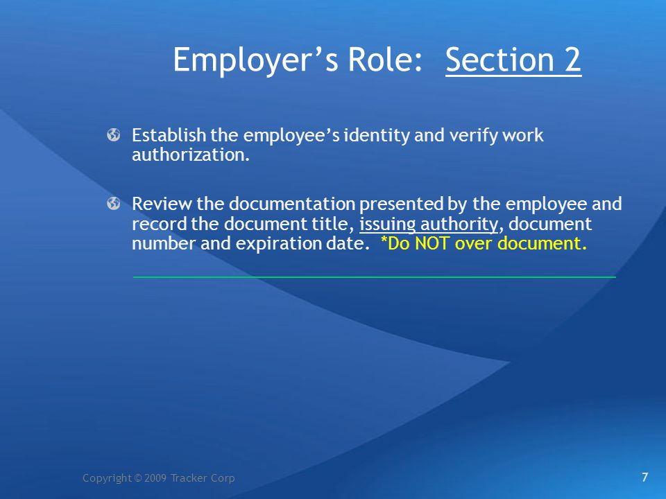 Employer's Role: Section 2