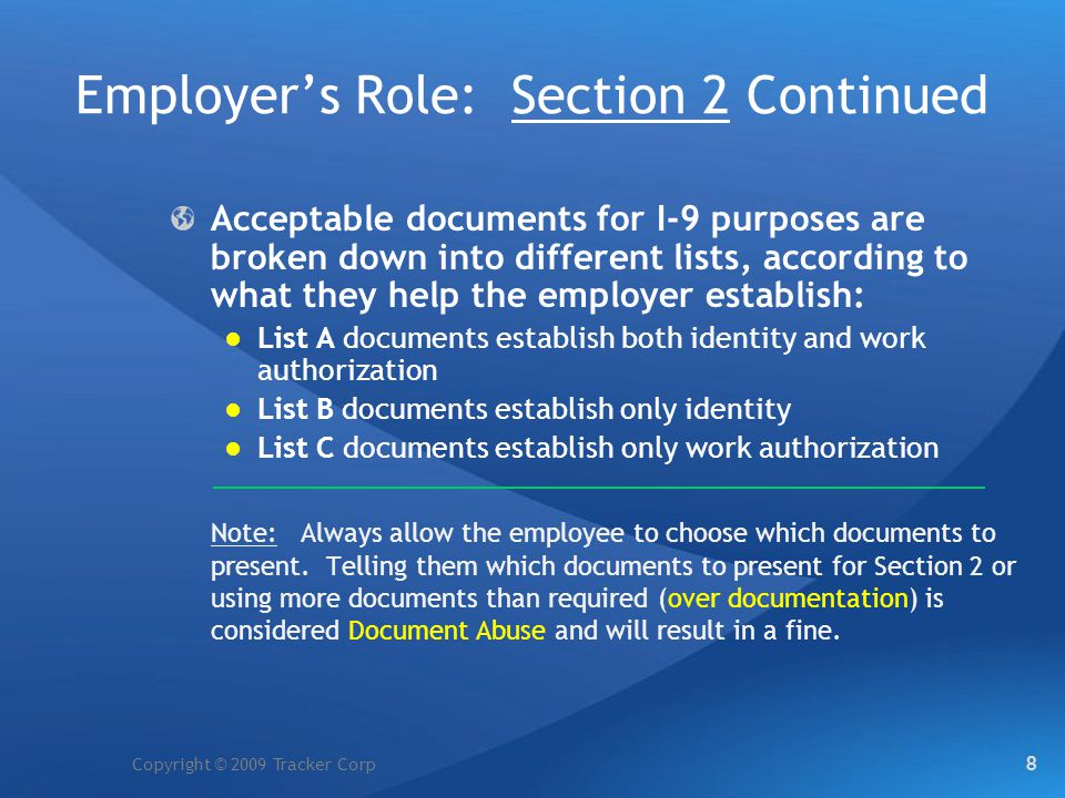 Employer's Role: Section 2 Continued