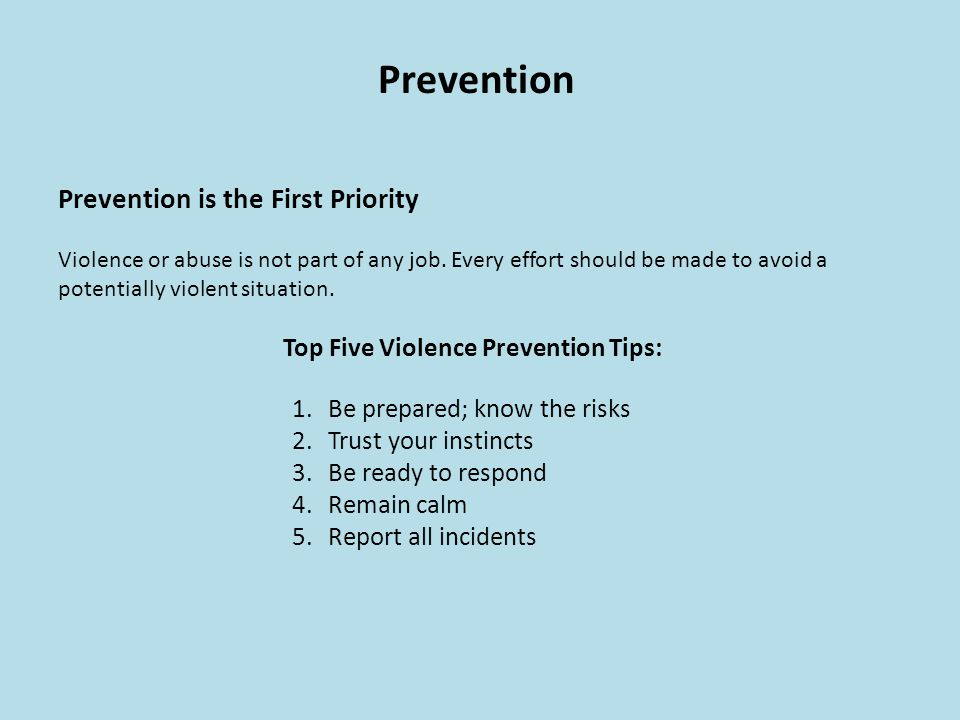Top Five Violence Prevention Tips: