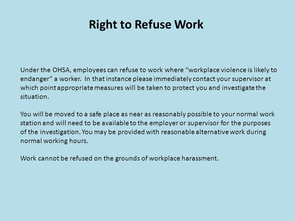 Right to Refuse Work