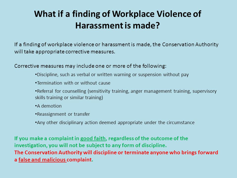 What if a finding of Workplace Violence of Harassment is made