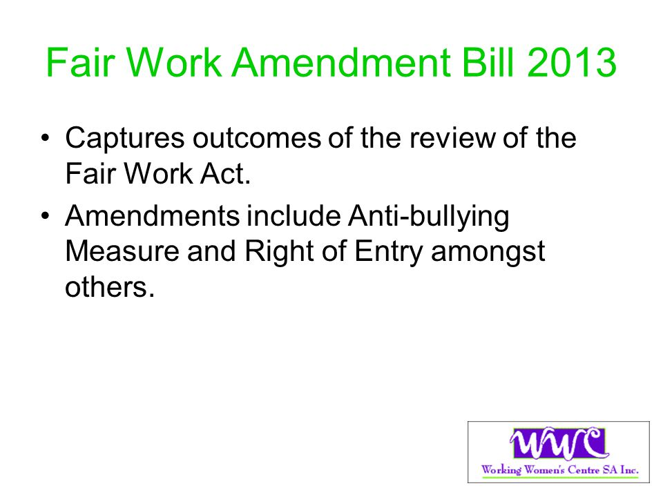 Fair Work Amendment Bill 2013