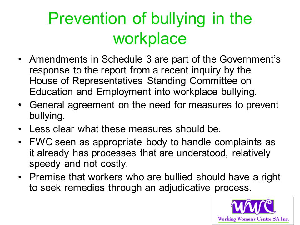 Prevention of bullying in the workplace