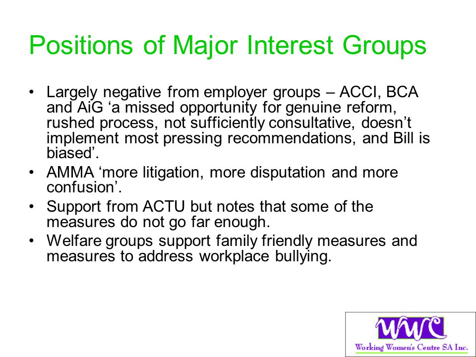 Positions of Major Interest Groups