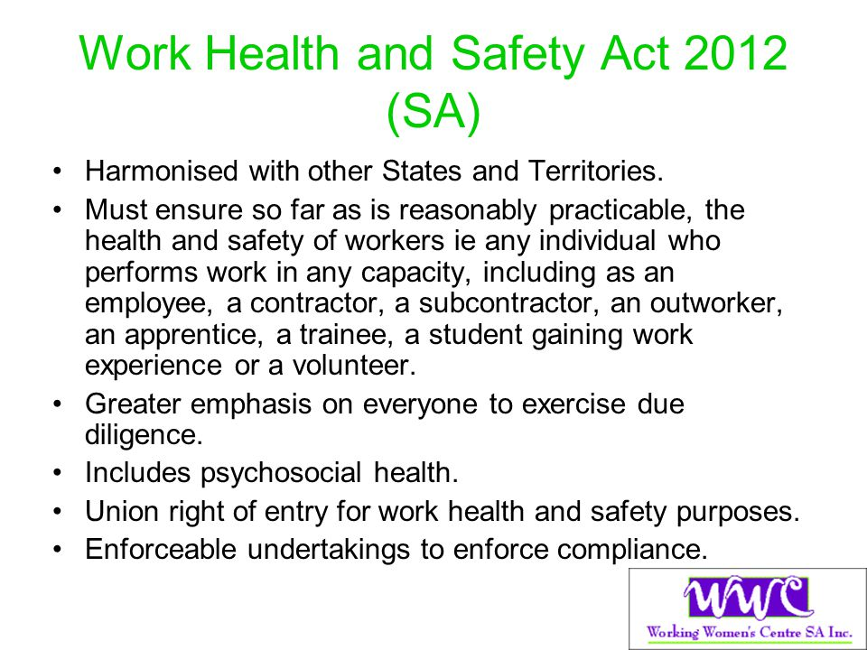 Work Health and Safety Act 2012 (SA)