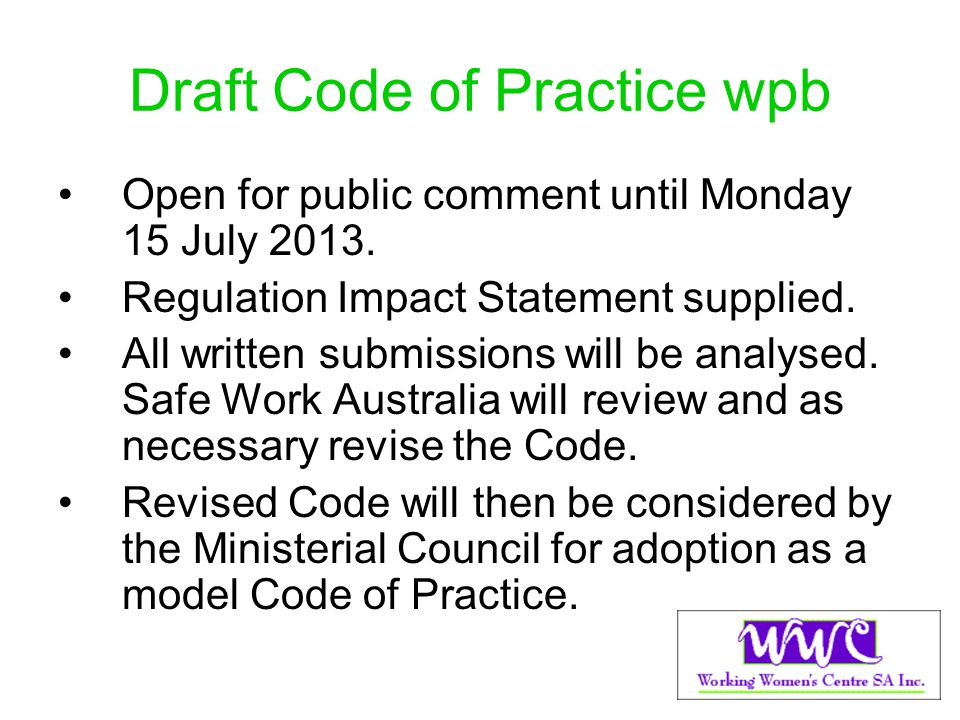 Draft Code of Practice wpb