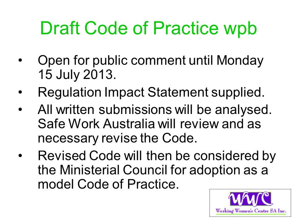 Draft Code of Practice wpb