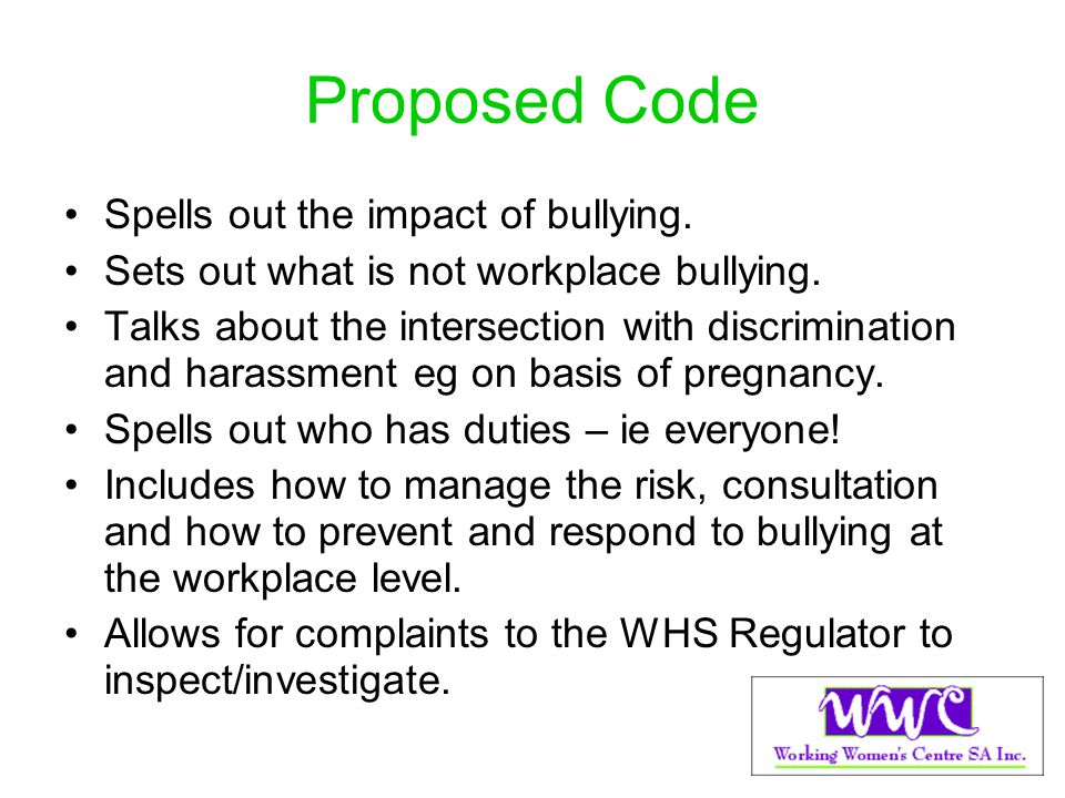 Proposed Code Spells out the impact of bullying.