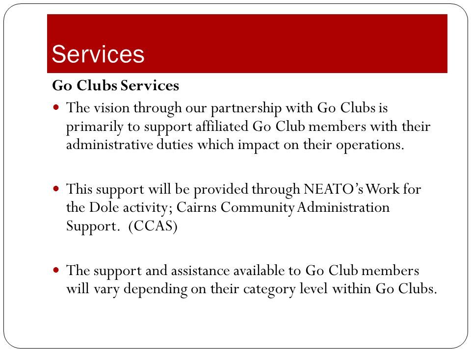 Services Go Clubs Services
