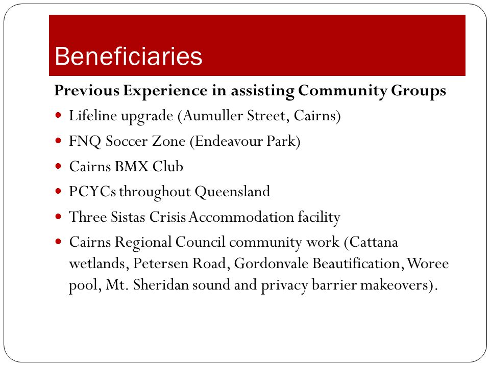 Beneficiaries Previous Experience in assisting Community Groups