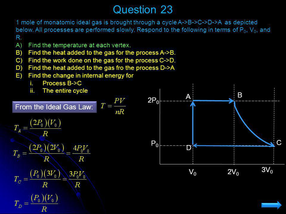 Question 23 V0 2V0 P0 2P0 C A B D 3V0 From the Ideal Gas Law: