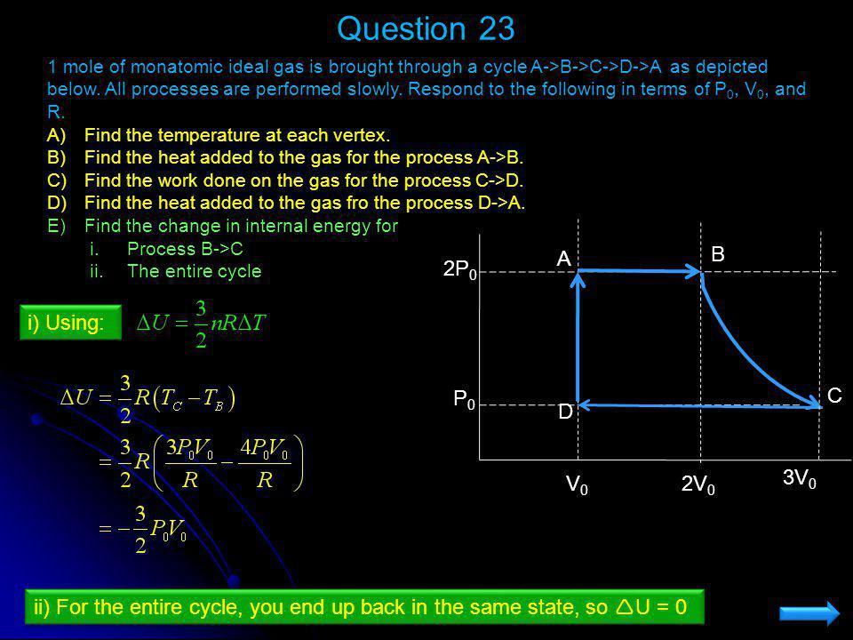 Question 23 V0 2V0 P0 2P0 C A B D 3V0 i) Using:
