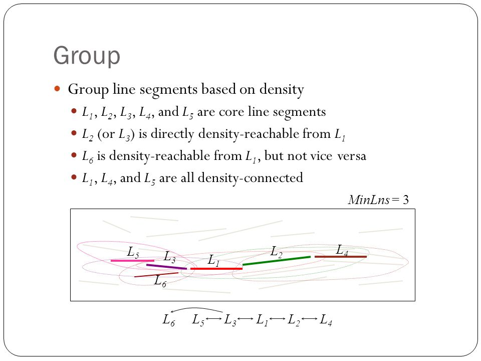 Group Group line segments based on density