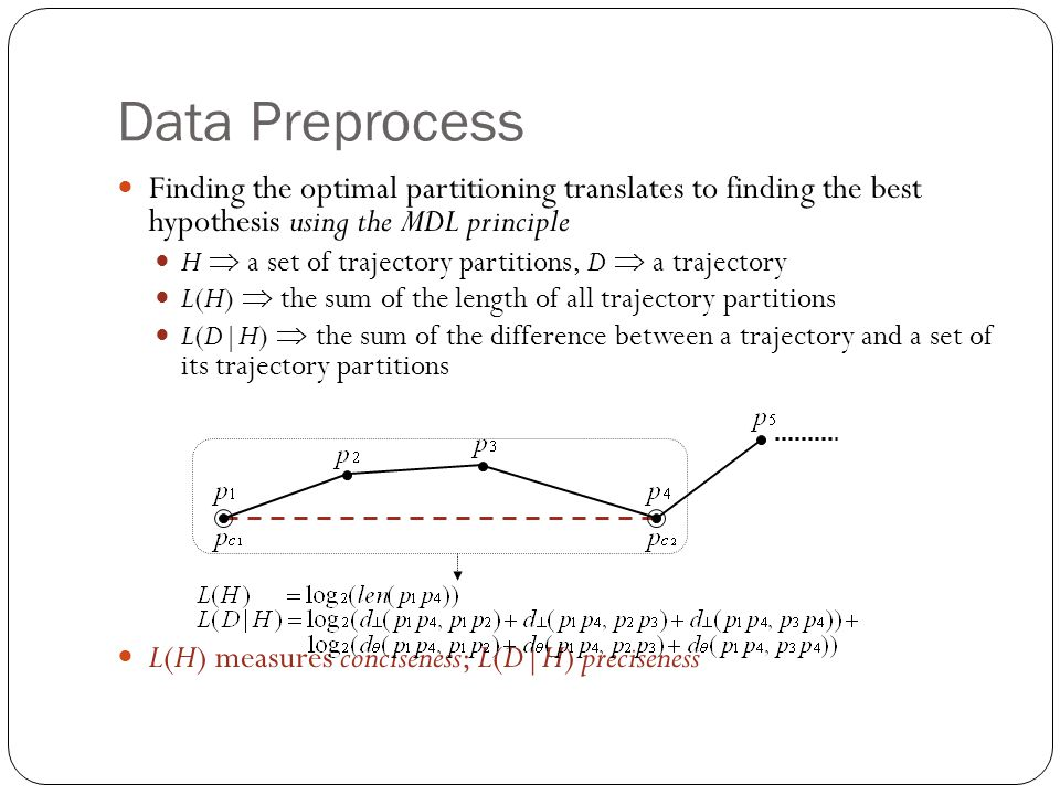 Data Preprocess Finding the optimal partitioning translates to finding the best hypothesis using the MDL principle.