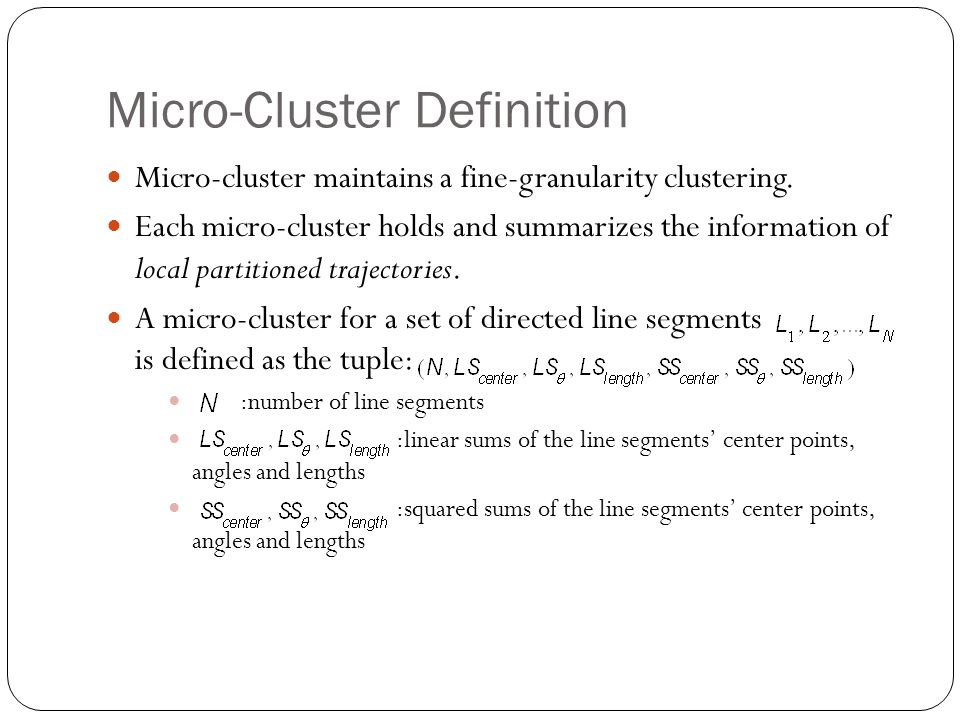 Micro-Cluster Definition