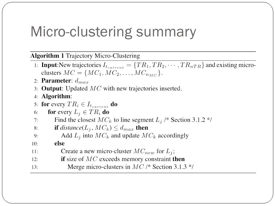 Micro-clustering summary
