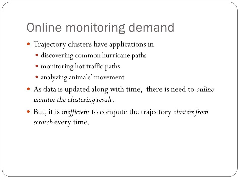 Online monitoring demand