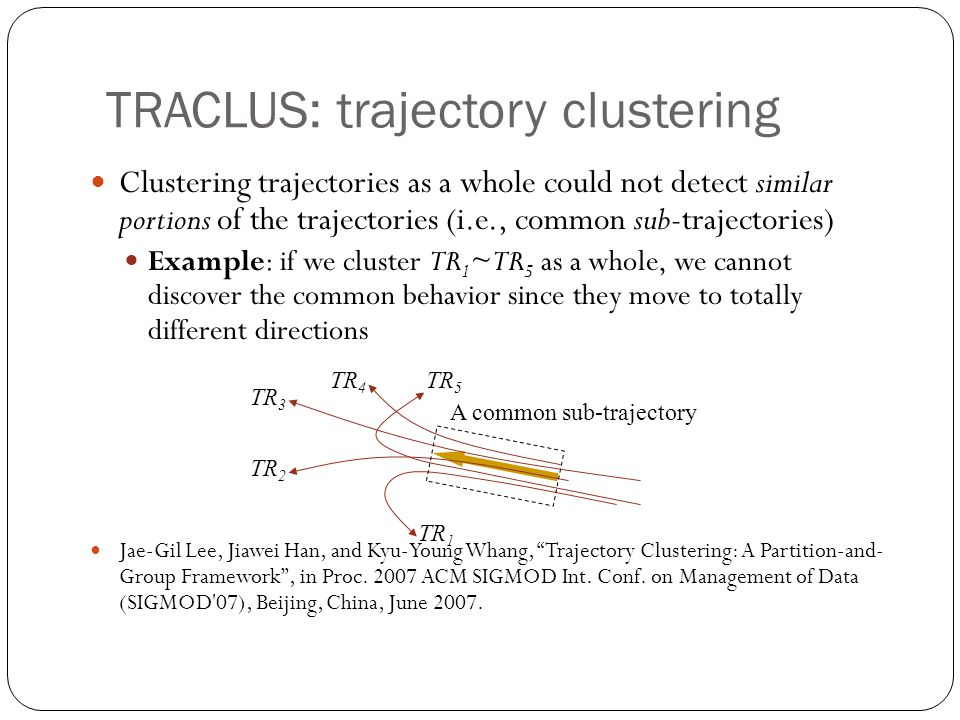 TRACLUS: trajectory clustering