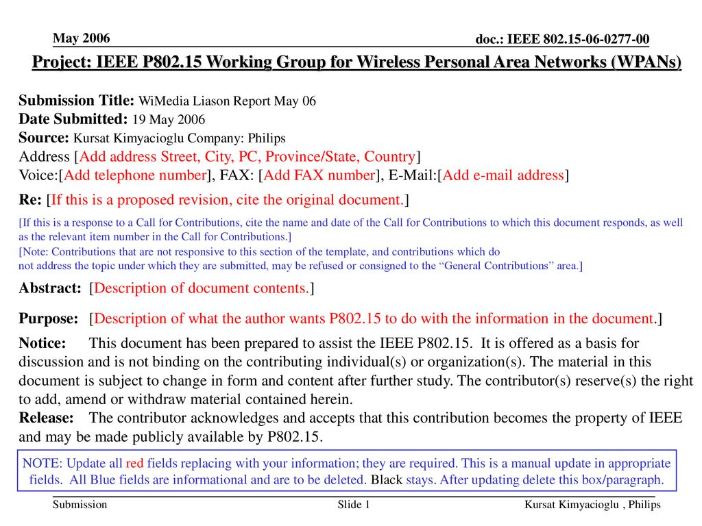 May 2006 Project: IEEE P Working Group for Wireless Personal Area Networks (WPANs) Submission Title: WiMedia Liason Report May 06.