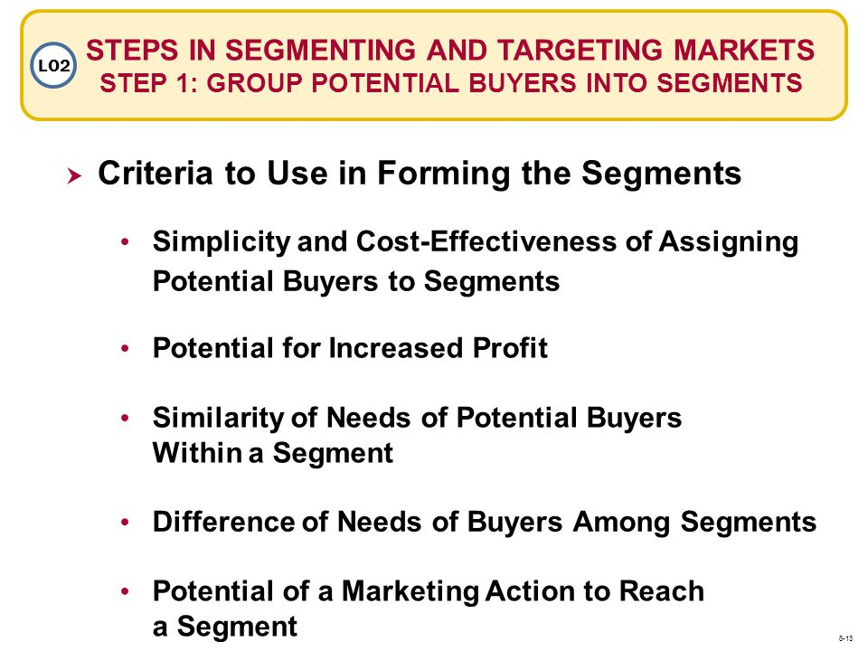 Criteria to Use in Forming the Segments
